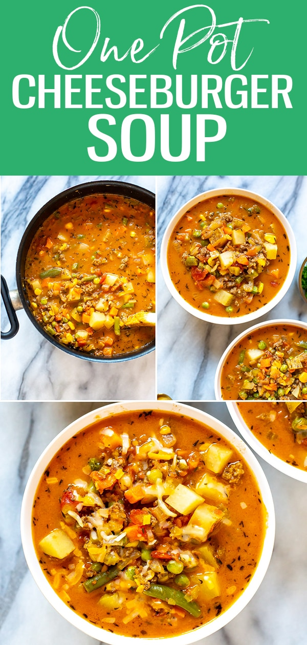 The Ultimate Cheeseburger Soup recipe is filled with ground beef, potatoes, cheese and frozen veggies for an easy, hearty take on a cheeseburger - you'll love this creamy soup! #cheeseburgersoup