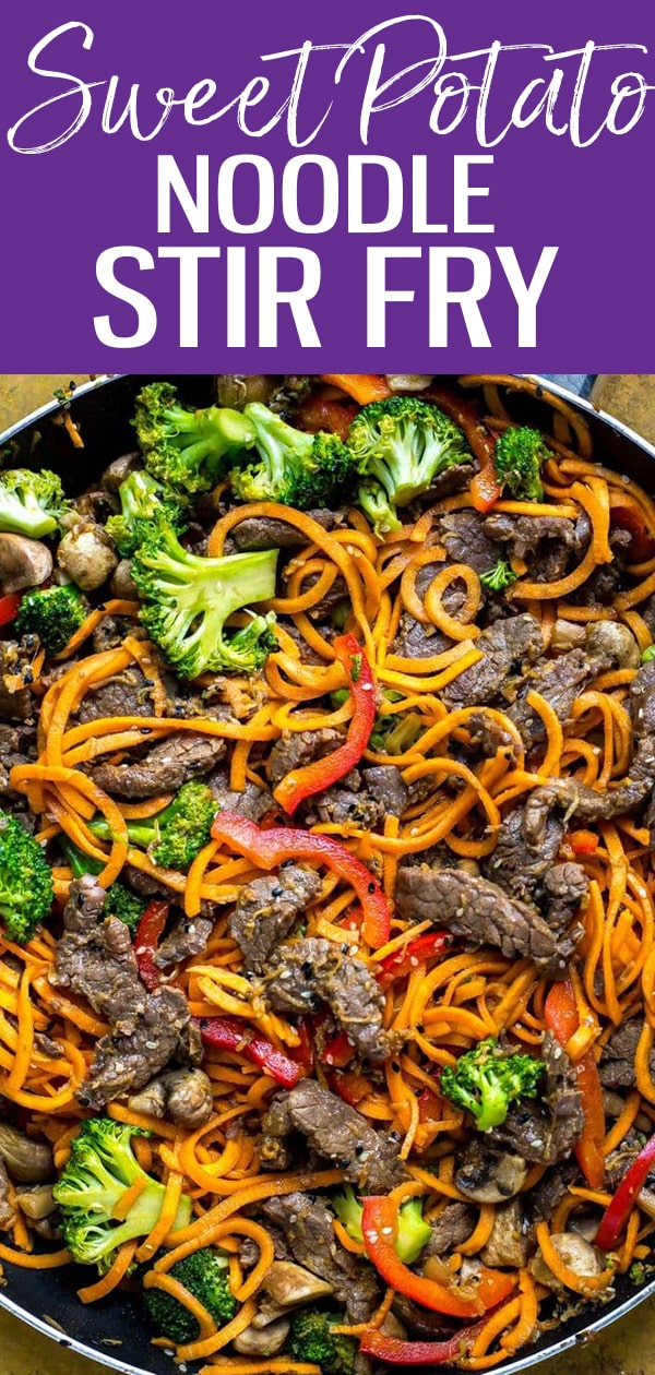 These 30-Minute Ginger Beef Sweet Potato Noodles are so delicious! Using spiralized sweet potato noodles in a stir fry makes this meal come together super quick. #sweetpotatonoodles #stirfry