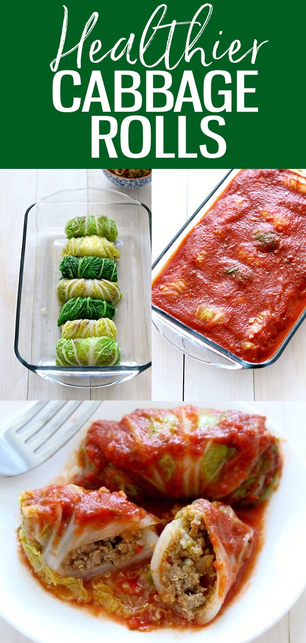 These Healthier Napa Cabbage Rolls are made with ground turkey, quinoa and a homemade tomato sauce that's hearty and delicious - it's the ultimate comfort food! #cabbagerolls