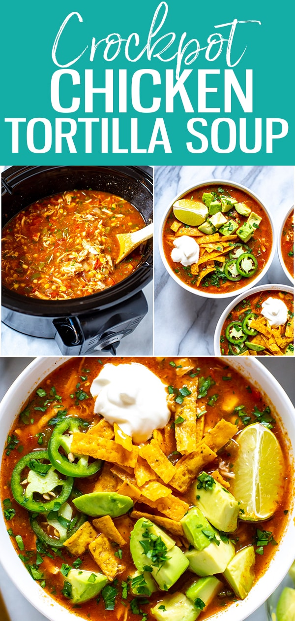 This Crockpot Chicken Tortilla Soup is so flavourful - just dump in all the ingredients and push start, then top with avocado, tortilla strips, jalapeno and cilantro! #crockpot #chickentortillasoup