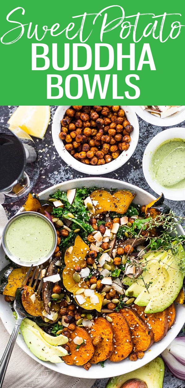 This Sweet Potato, Squash and Kale Buddha Bowl is a delicious way to enjoy roasted fall root vegetables - just add some tahini dressing & crispy chickpeas! #sweetpotato #kale #buddhabowls