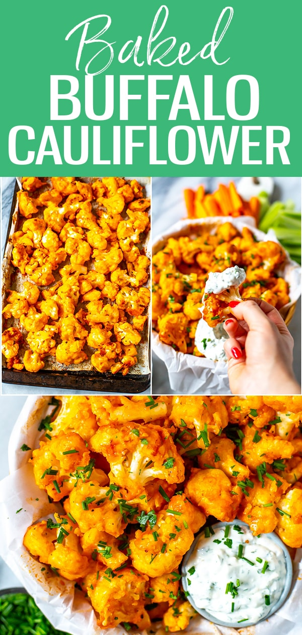 This Easiest Ever Buffalo Cauliflower is a perfect healthy appetizer or snack idea for football season, and these cute bites are made healthier in the oven. #buffalocauliflower #buffalosauce