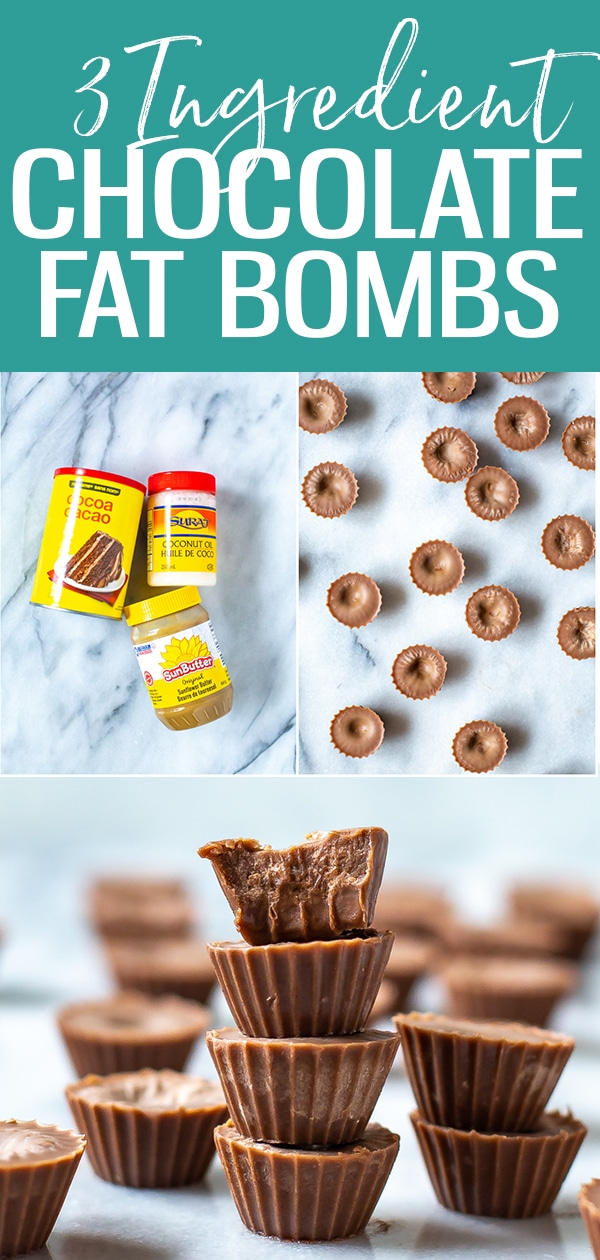 These Keto Chocolate Fat Bombs are made with just 3 ingredients: coconut oil, sunflower butter and cocoa powder. They're a lower calorie meal prep snack that you can prep in advance! #chocolate #fatbombs #snack