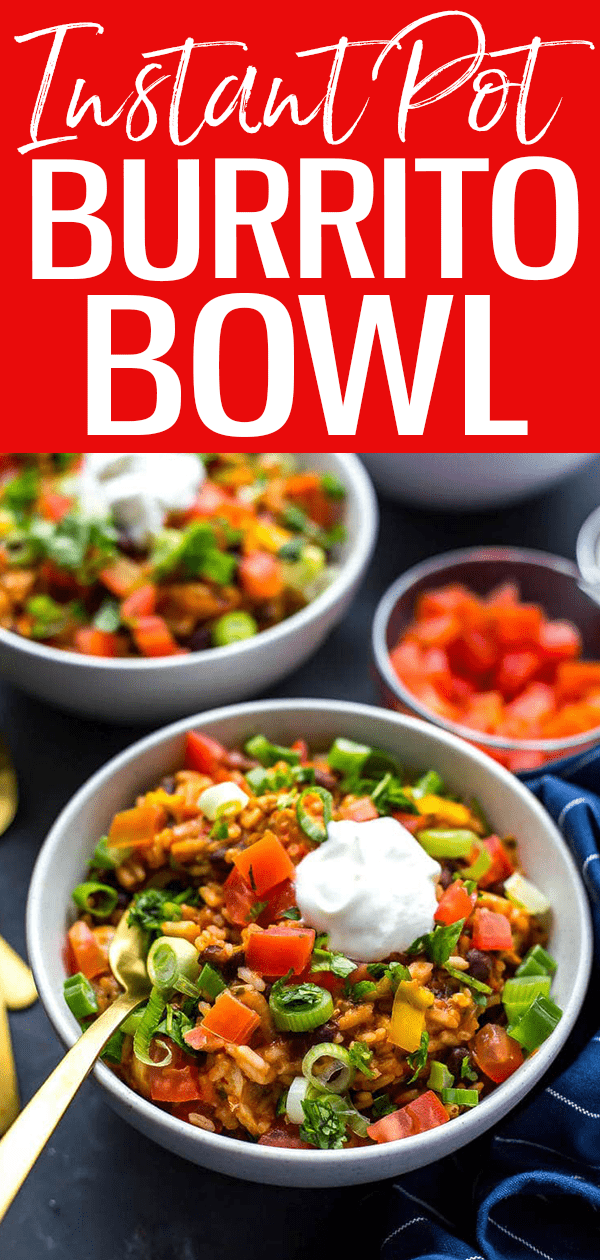 These 20-Minute Instant Pot Chicken Burrito Bowls are a quick dinner idea using mostly pantry staples – read on for a slow cooker option! #burritobowl #instantpot