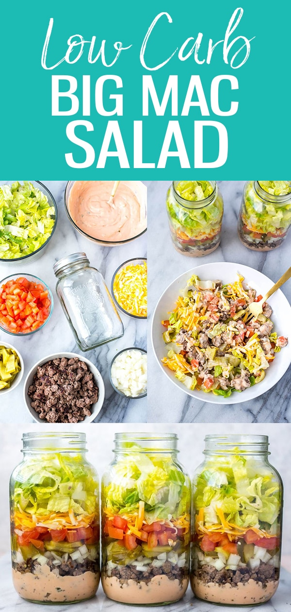 These Meal Prep Low Carb Big Mac Salad Jars are a delicious lunch option and a healthier way to satisfy your cheeseburger cravings - and the Big Mac dressing is easily made with pantry staples! #bigmac #mealprep #masonjarsalad