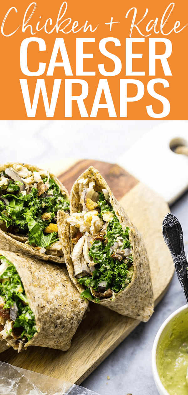These veggie-filled Chicken and Kale Caesar Wraps are the perfect on-the-go lunch and include a lighter vegetarian caesar dressing!  #chickenkale #caeserwraps