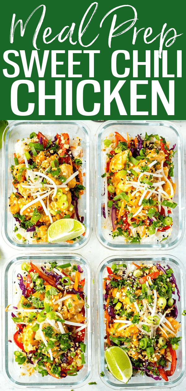 These Sweet Chili Chicken Meal Prep Bowls with jasmine rice, bean sprouts & cilantro are a delicious make-ahead lunch idea! #mealprep #chilichicken
