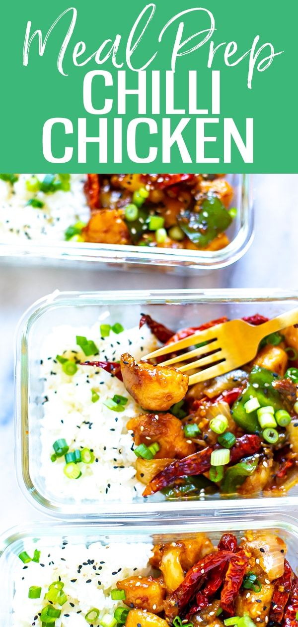 This Chilli Chicken is inspired by Chinese takeout - it's the perfect blend of sweet & spicy chicken stir fried with onions and green peppers, then served over rice! #chillichicken #mealprep
