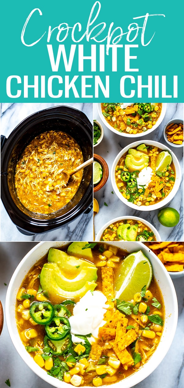 This Crockpot White Chicken Chili is SO easy! It's made in one pot with white beans, and seasoned with green chilies - plus the chicken is so tender! #chickenchili #crockpot #whitechili