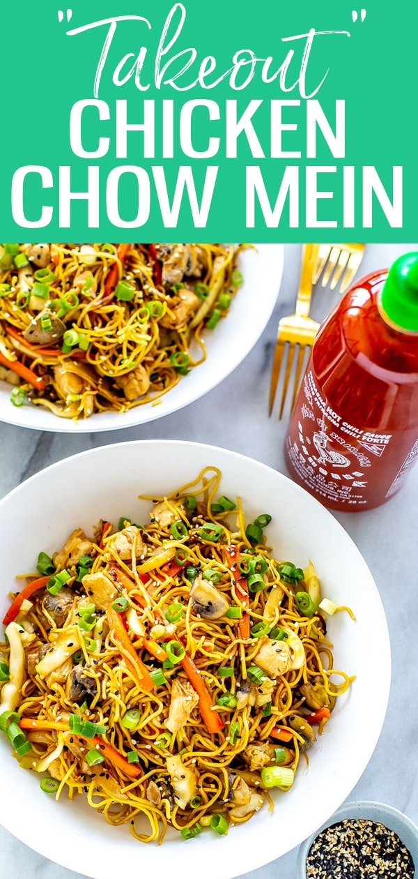 This Chicken Chow Mein tastes just like takeout, and comes together in one skillet in 30 minutes! The easy sauce uses pantry staples to boot. #chicken #chowmein
