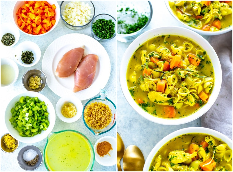 Ingredients for the best ever healing chicken soup