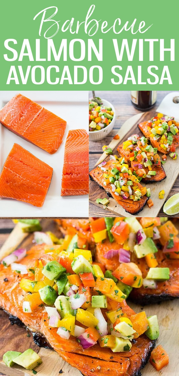 This Easy BBQ Salmon with Avocado Salsa is the perfect summer dinner idea and takes only 10 minutes to cook on the grill! #bbqsalmon #avocadosalsa