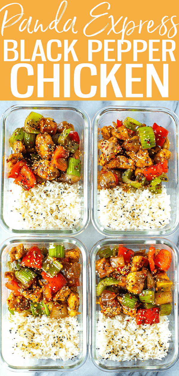 This Black Pepper Chicken is like the dish at Panda Express, and the sauce is easy to make with ingredients from your pantry. #blackpepperchicken #pandaexpress
