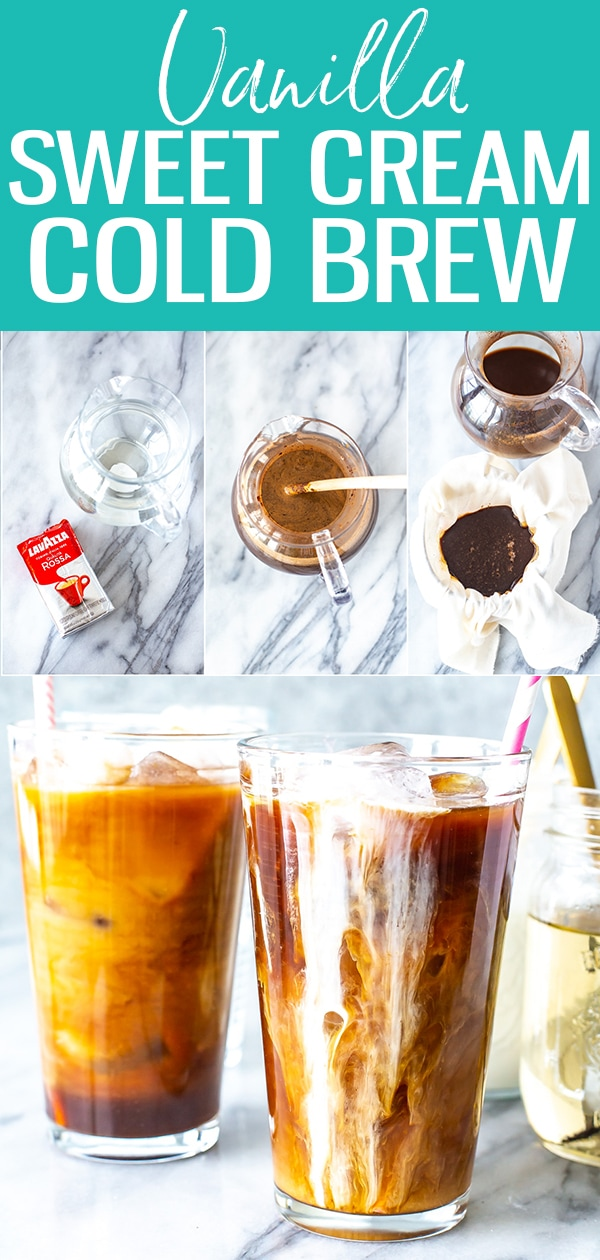 This Vanilla Sweet Cream Cold Brew is just like the version at Starbucks - it's so creamy and refreshing, and the cold brew coffee can be made easily at home! #starbucks #vanillasweetcream #coldbrew