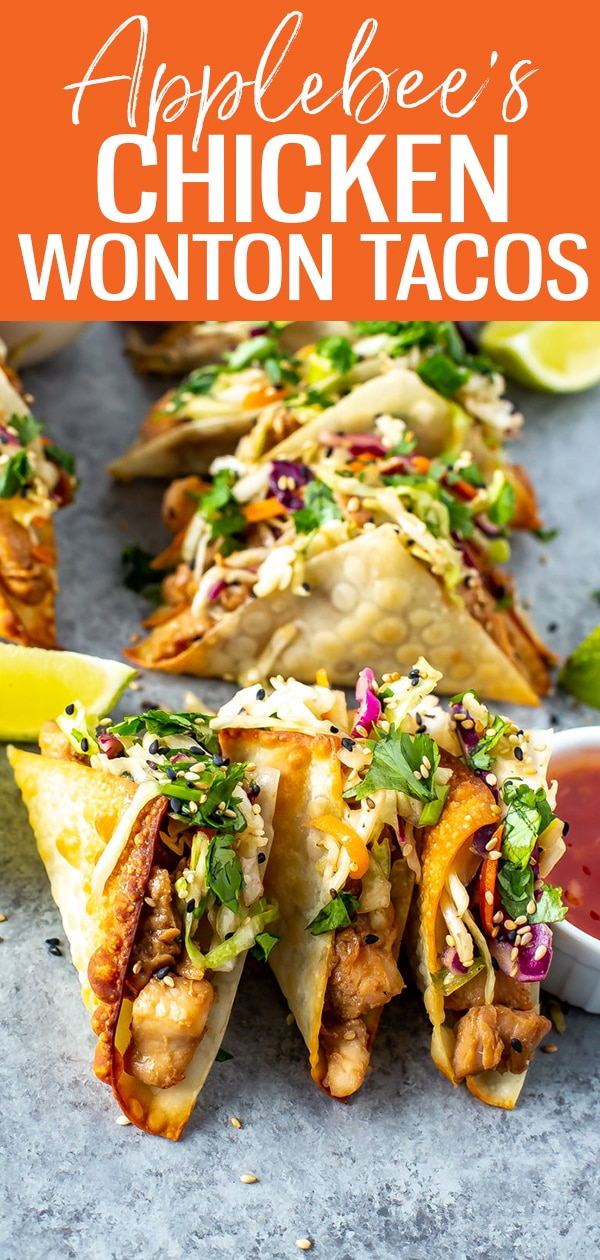 These Applebee's Chicken Wonton Tacos are filled with honey-garlic chicken, sweet chili sauce and zesty Asian slaw stuffed into crispy wonton shell #applebees #wontontacos