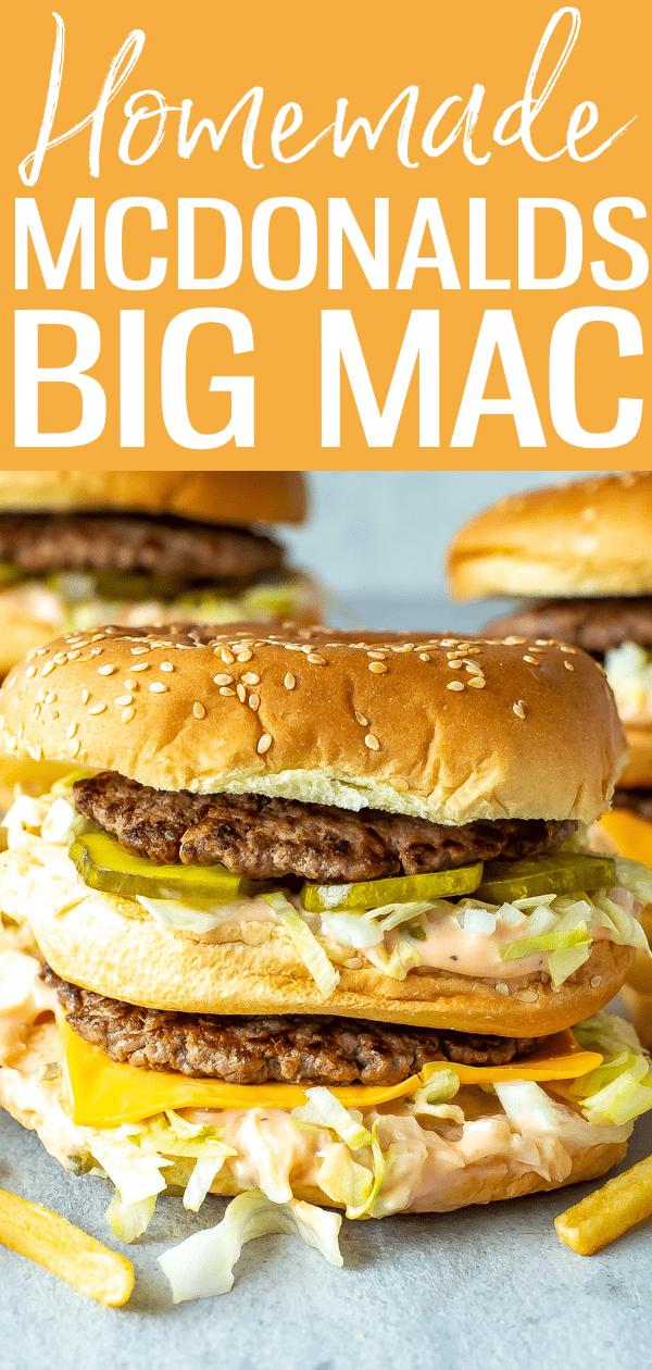 This McDonalds-style Big Mac recipe comes complete with sesame seed buns, juicy hamburger patties, cheese slices, pickles and Big Mac sauce! #mcdonaldscopycat #bigmac