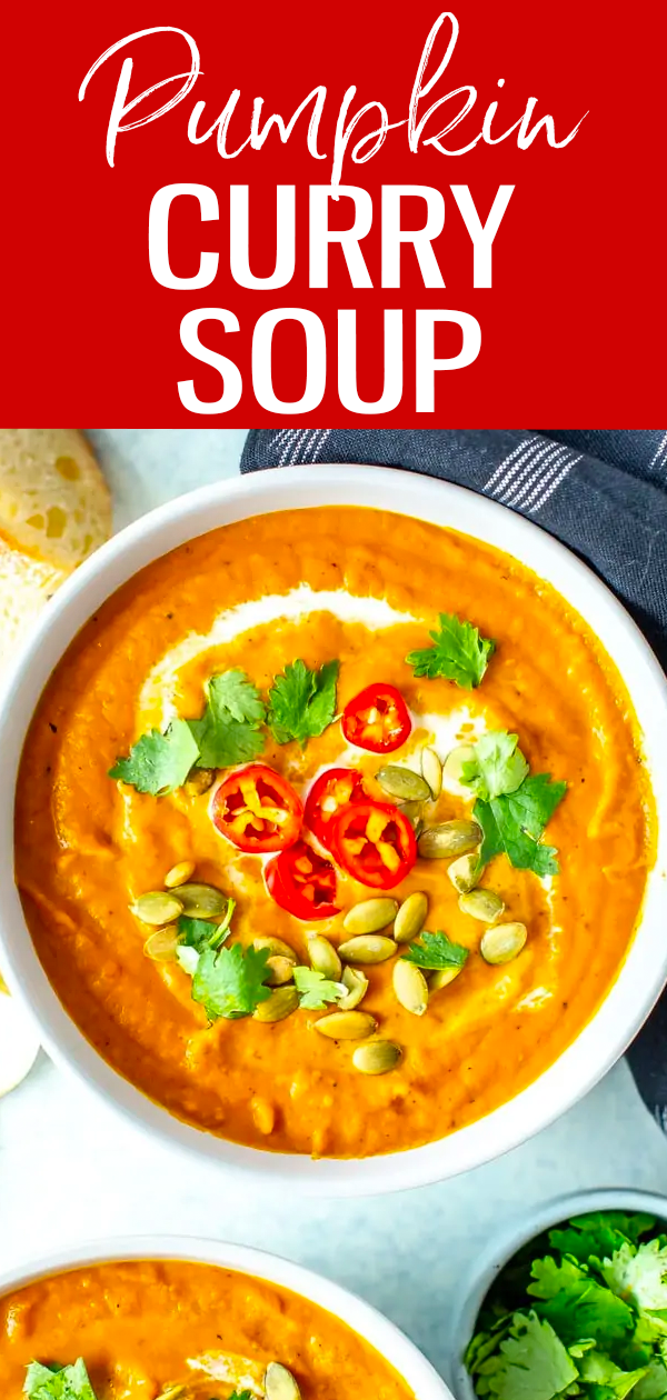 This Pumpkin Curry Soup comes together with coconut milk, canned pumpkin and curry paste. It's a delicious twist on fall comfort food! #pumpkinrecipes #pumpkincurry