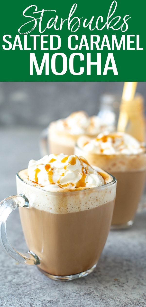This Starbucks Salted Caramel Mocha is a perfect copycat! Made with coffee & steamed milk, it's topped with whipped cream & salted caramel. #starbucks #saltedcaramelmocha