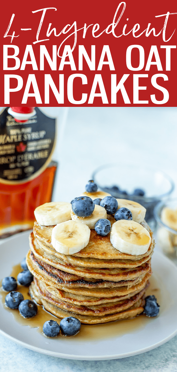These 4-Ingredient Banana Oat Pancakes are gluten free and the perfect meal prep breakfast - you can even freeze them for later! #bananaoat #pancakes