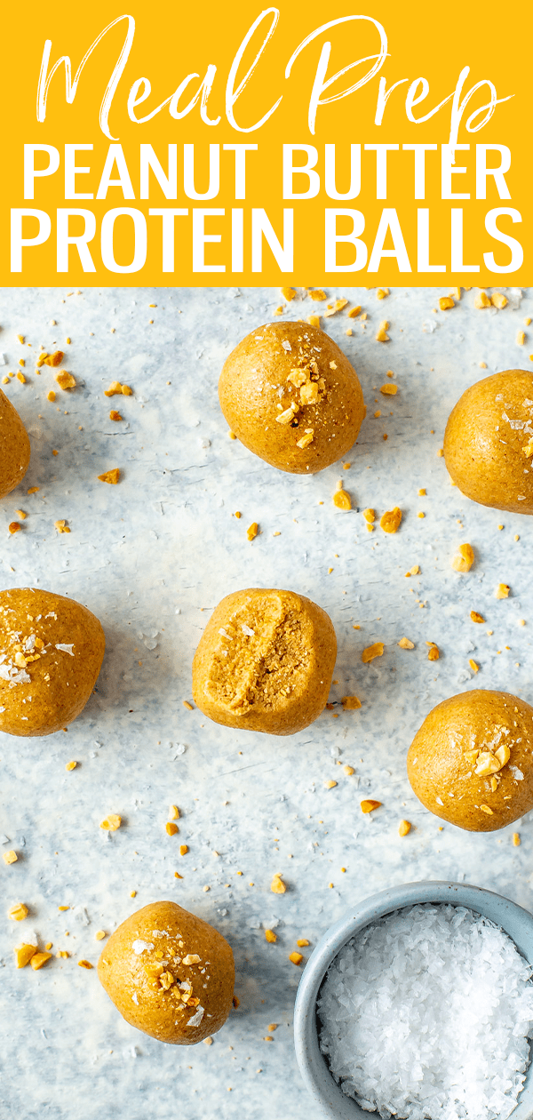 These 3-Ingredient Peanut Butter Protein Balls are the perfect protein packed snack - all you need is oats, nut butter and protein powder! #peanutbutter #proteinballs