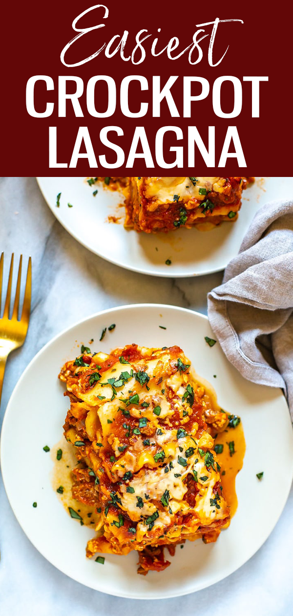This is the easiest ever Crockpot Lasagna Recipe - it cooks hands-off all day and is super easy to assemble. Plus, it freezes well! #slowcooker #lasagnarecipe