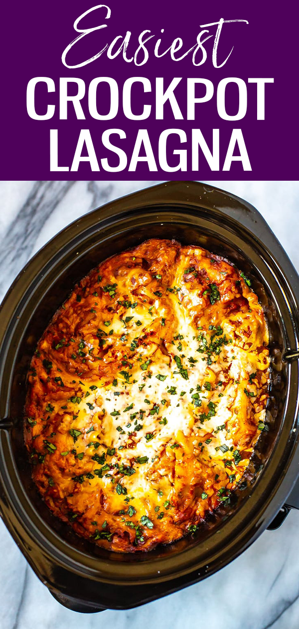 This is the easiest ever Crockpot Lasagna Recipe - it cooks hands-off all day and is super easy to assemble. Plus, it freezes well! #slowcooker #lasagna
