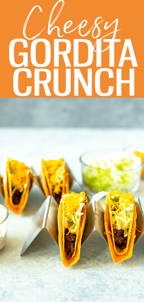 This is the perfect Cheesy Gordita Crunch Copycat Recipe, just like the one found at Taco Bell! It's a hard shell taco wrapped in flatbread stuffed with cheese. #cheesygorditacrunch #tacobell