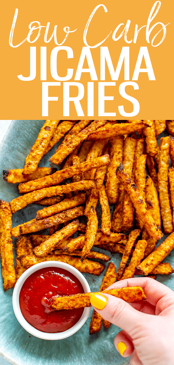These Low Carb Jicama Fries are the perfect side dish - I've included instructions for baking them in the oven or making them in the air fryer! #lowcarb #jicamafries