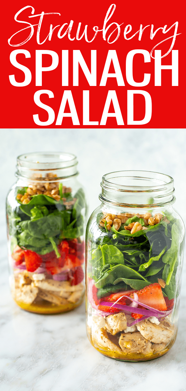 This Strawberry Spinach Salad with chicken and goat cheese is a deliciously protein-packed meal with a 4-ingredient dressing! #strawberrygoatcheese #spinachsalad