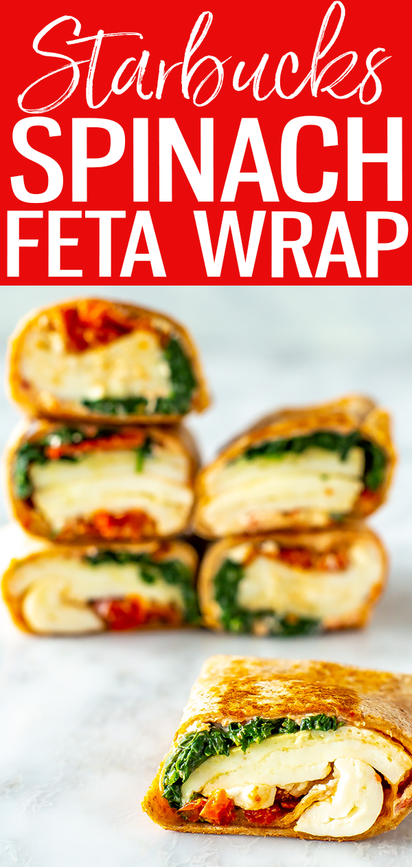 This Starbucks Spinach Feta Wrap is the real deal with egg whites, spinach, fetacheese and tomatoes inside a toasted whole-wheat wrap. #starbuckscopycat #spinachfetawrap