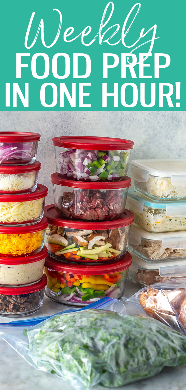 Meal prep doesn't need to take an entire weekend. Learn how to food prep in just 1 hour with this time-saving method, it's a game changer! #freemealplan #foodprep