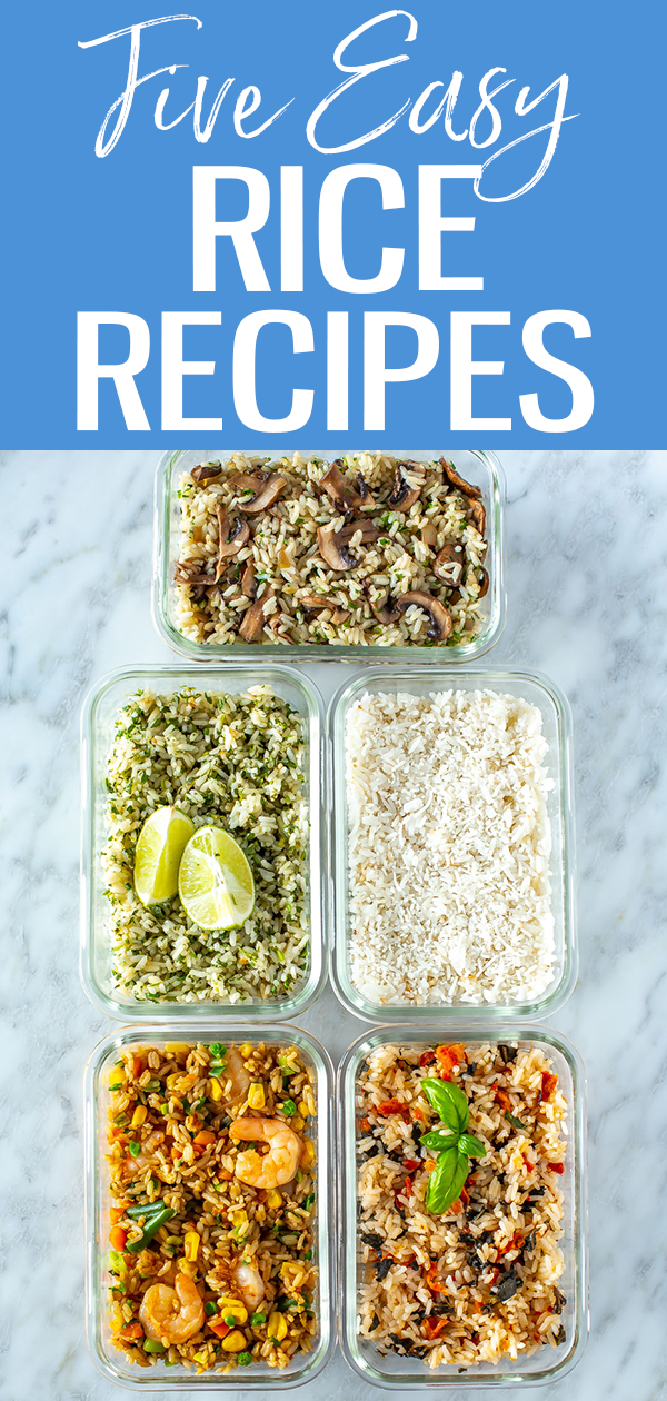 These 5 Easy Rice Recipes can be made in a rice cooker with few ingredients - try fried, cilantro lime, tomato basil, mushroom or coconut. #ricecooker #ricerecipes