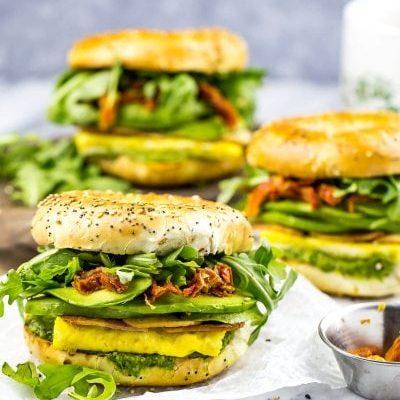 Pesto Bagel Breakfast Sandwiches