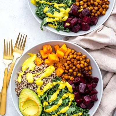 Sheet Pan Buddha Bowls with Turmeric Tahini Dressing
