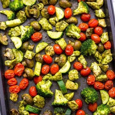 Sheet Pan Pesto Chicken Meal Prep Bowls